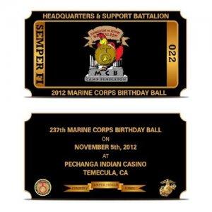 Marine Ball Ticket Challenge Coin